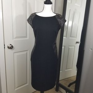 LBD, with faux leather accents, business wear